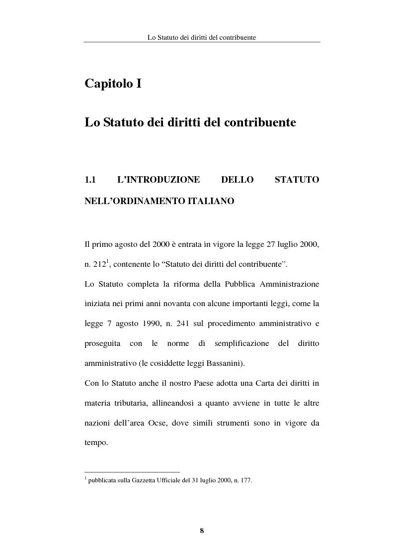 Anteprima della tesi: La tutela del contribuente nello Statuto dei diritti del contribuente, Pagina 5