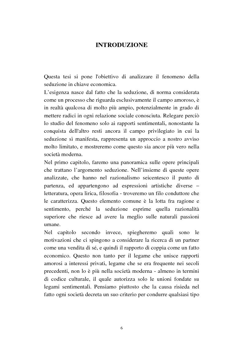 Anteprima della tesi: Economia della seduzione. Analisi delle forze concorrenziali e strategie di vantaggio competitivo nella moderna conquista amorosa, Pagina 1