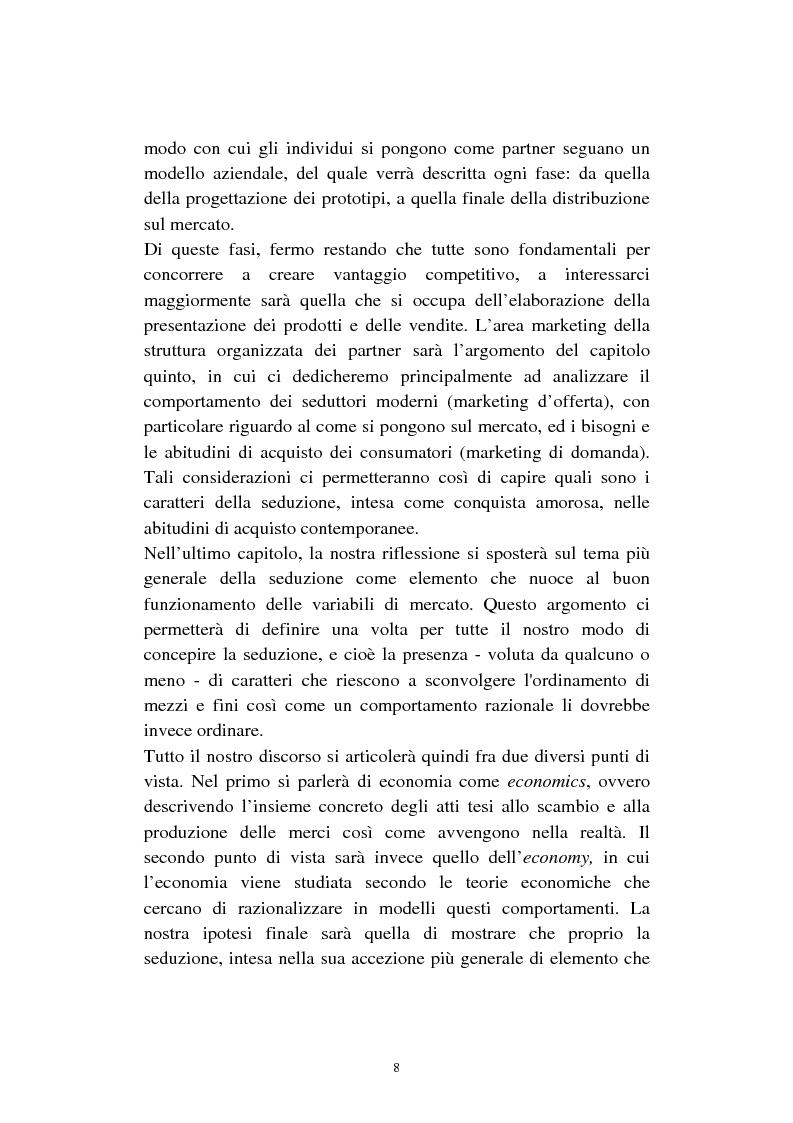 Anteprima della tesi: Economia della seduzione. Analisi delle forze concorrenziali e strategie di vantaggio competitivo nella moderna conquista amorosa, Pagina 3
