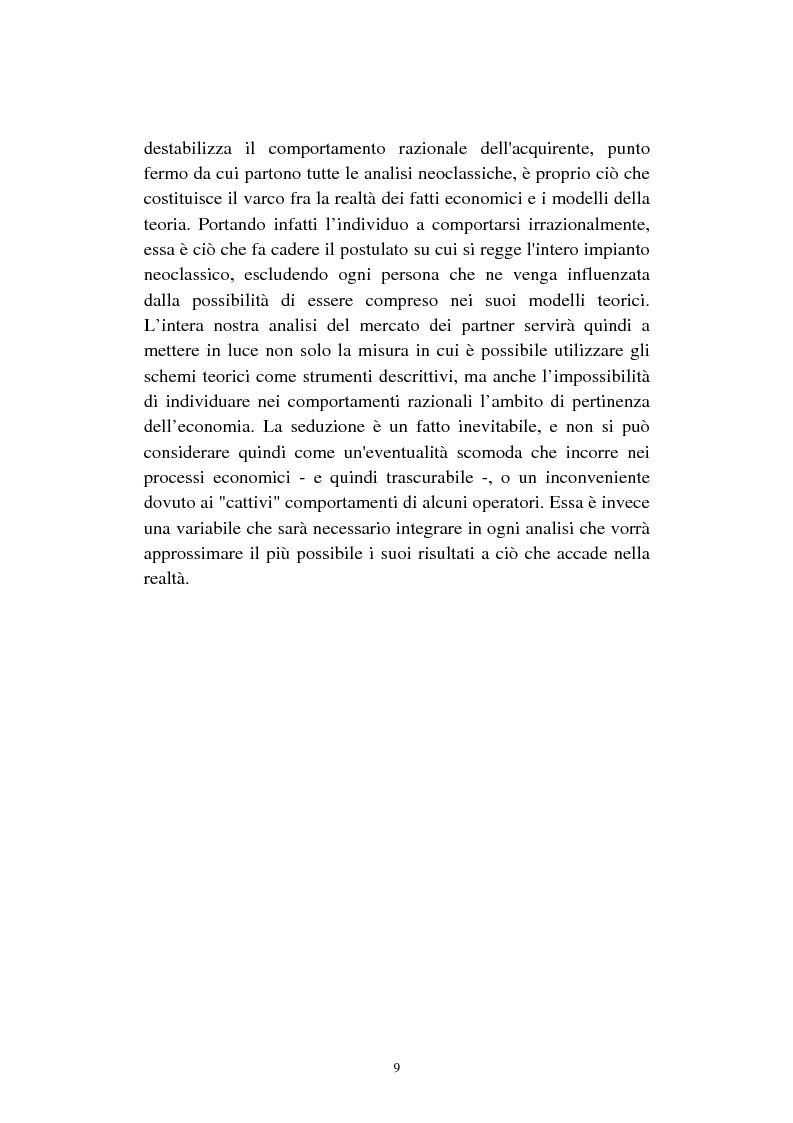 Anteprima della tesi: Economia della seduzione. Analisi delle forze concorrenziali e strategie di vantaggio competitivo nella moderna conquista amorosa, Pagina 4