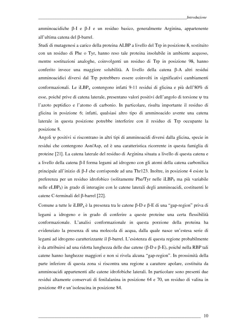 Anteprima della tesi: Studio Esi-Ms di dinamiche conformazionali metanolo-indotte di proteine adibite al trasporto di retinolo e acido retinoico (CrbpI, CrbpII e Crabp) mediante scambio idrogeno e deuterio, Pagina 9