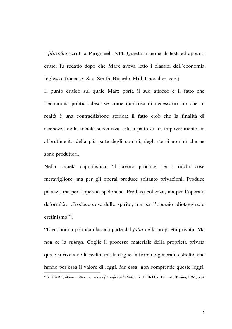 Anteprima della tesi: Karl Marx. Etica e critica dell'economia politica, Pagina 2