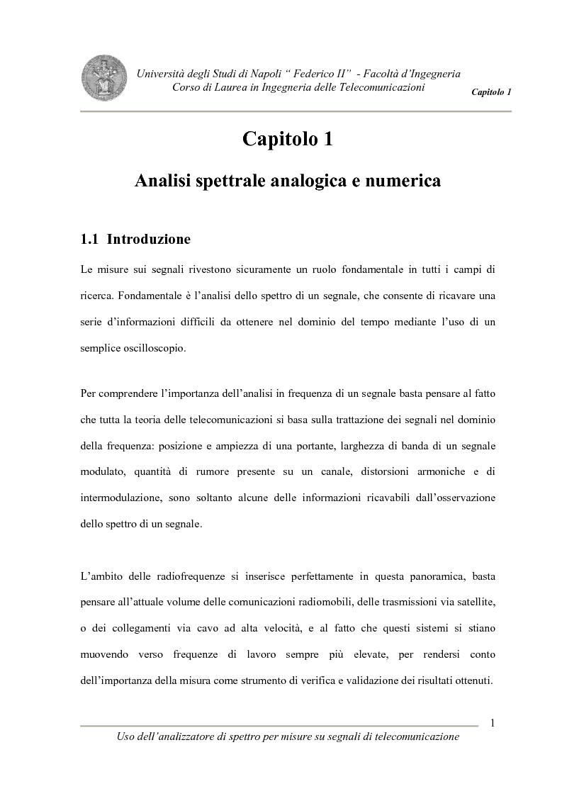 Anteprima della tesi: Uso degli analizzatori di spettro per misure su segnali di telecomunicazione, Pagina 1