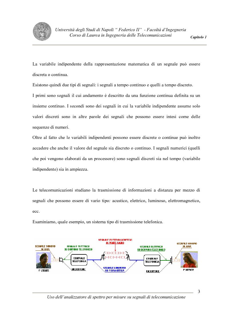 Anteprima della tesi: Uso degli analizzatori di spettro per misure su segnali di telecomunicazione, Pagina 3