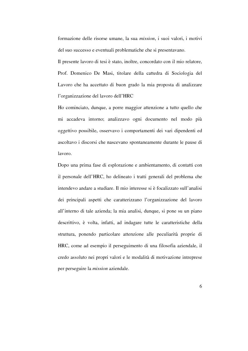 Anteprima della tesi: Organizzazione del lavoro e gestione delle risorse umane: il caso Hard Rock Cafe, Pagina 3