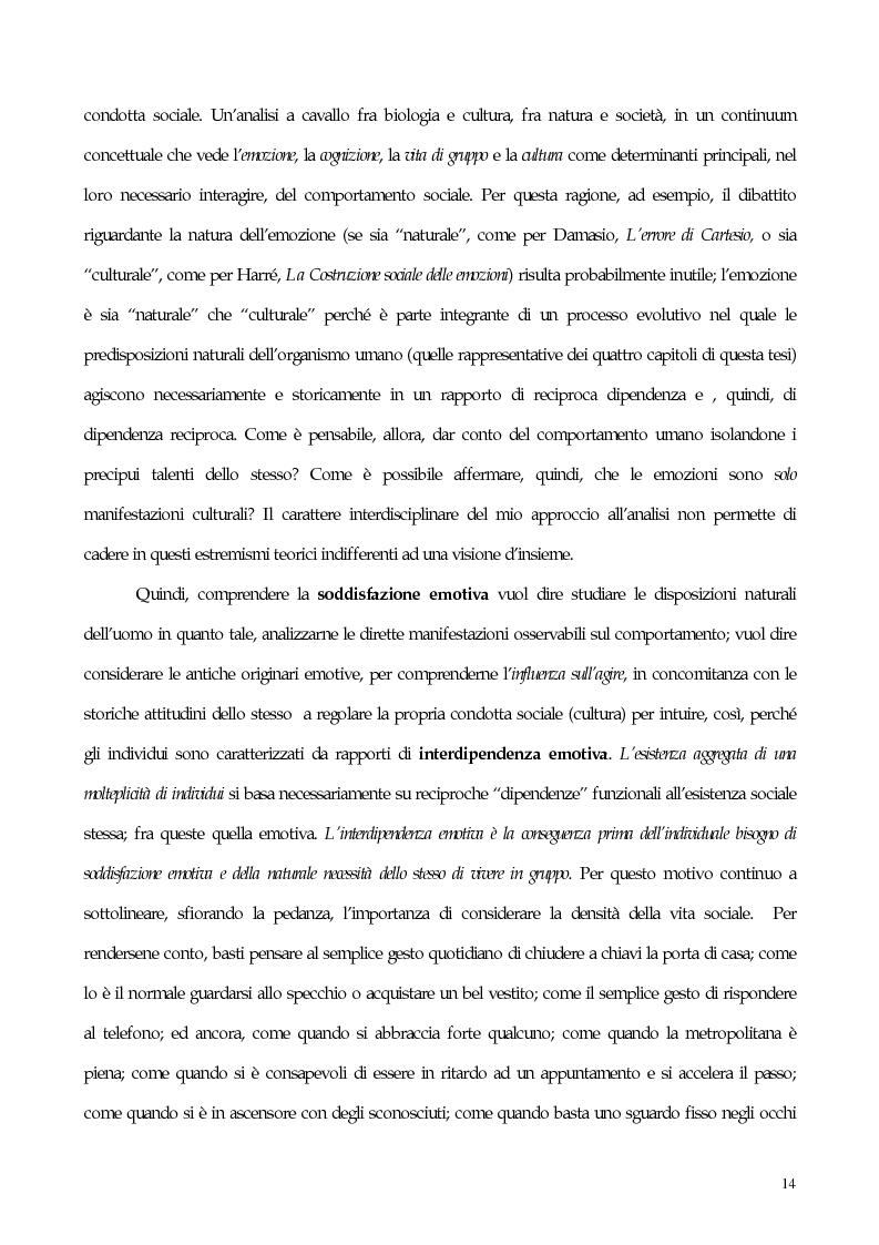 Anteprima della tesi: Interdipendenza emotiva: per una prospettiva cognitiva sulle emozioni, Pagina 12