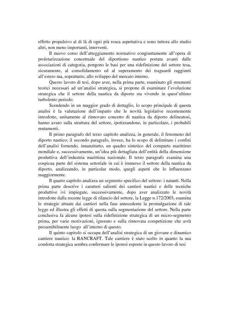 Anteprima della tesi: Strategie competitive nel settore della nautica da diporto. Il caso Rancraft, Pagina 2