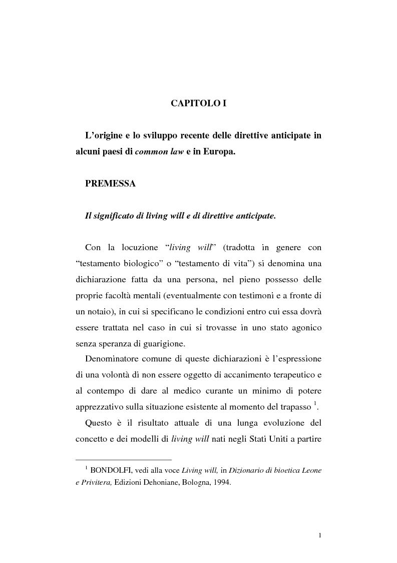 Anteprima della tesi: Le direttive anticipate di trattamento in ambito medico sanitario, Pagina 1