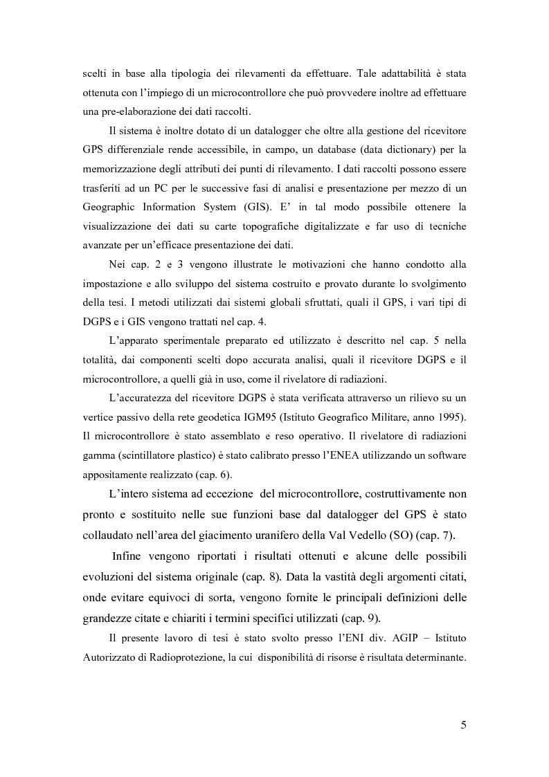 Anteprima della tesi: Sviluppo di un apparato strumentale per il rilevamento di grandezze radiometriche ambientali integrato con un sistema di acquisizione di coordinate geografiche, Pagina 2
