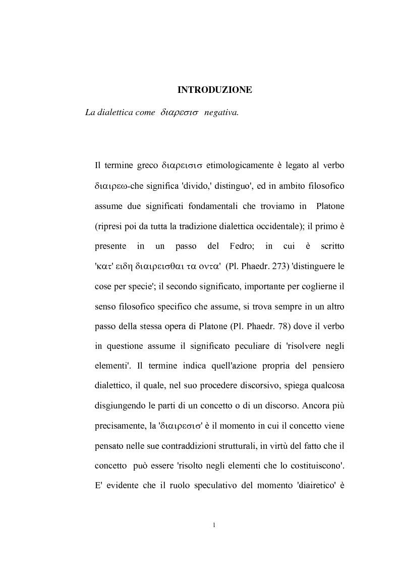Anteprima della tesi: La natura problematica della dialettica negativa in T.W. Adorno, Pagina 1
