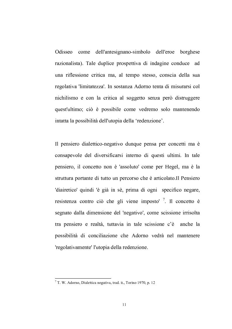 Anteprima della tesi: La natura problematica della dialettica negativa in T.W. Adorno, Pagina 11