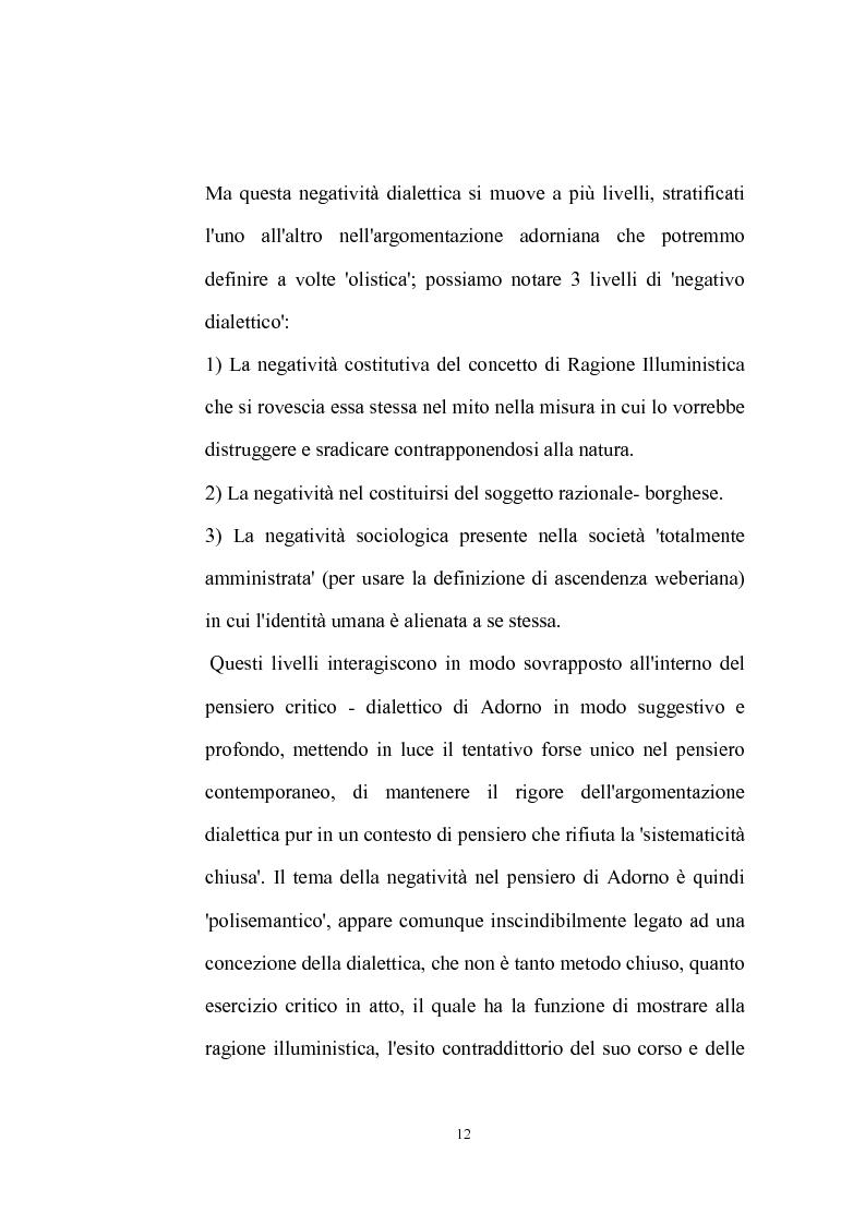 Anteprima della tesi: La natura problematica della dialettica negativa in T.W. Adorno, Pagina 12