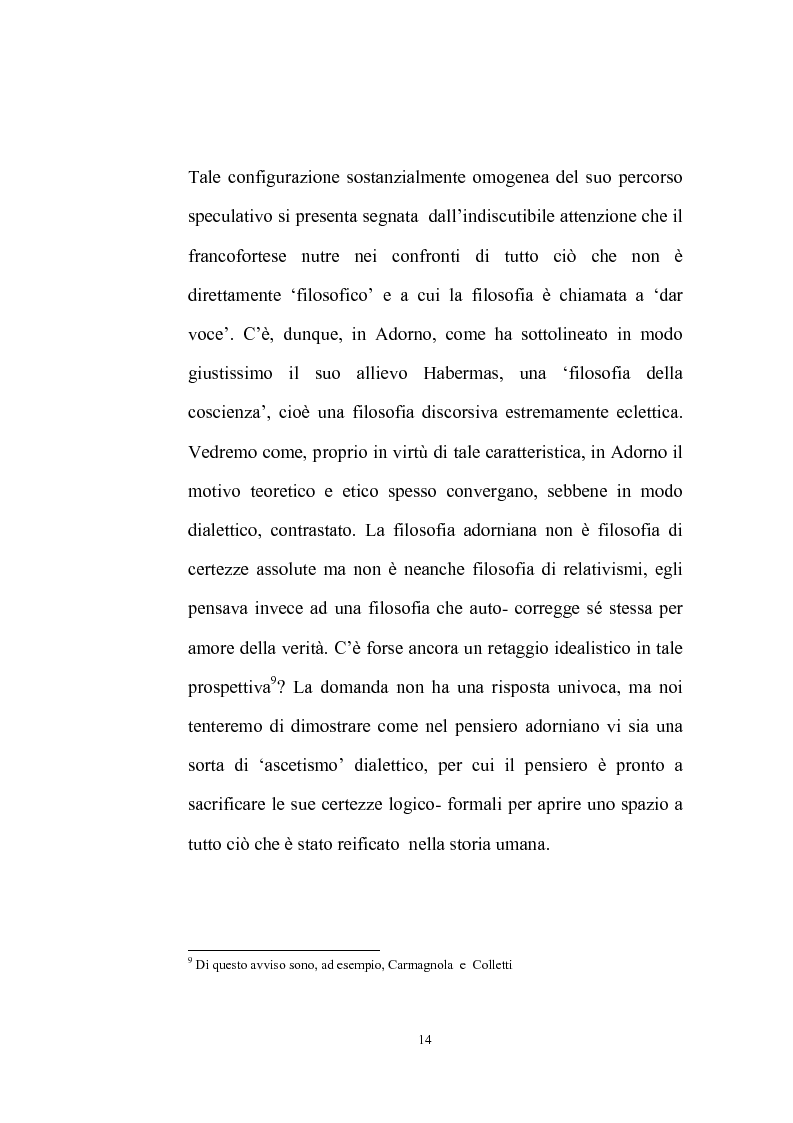 Anteprima della tesi: La natura problematica della dialettica negativa in T.W. Adorno, Pagina 14