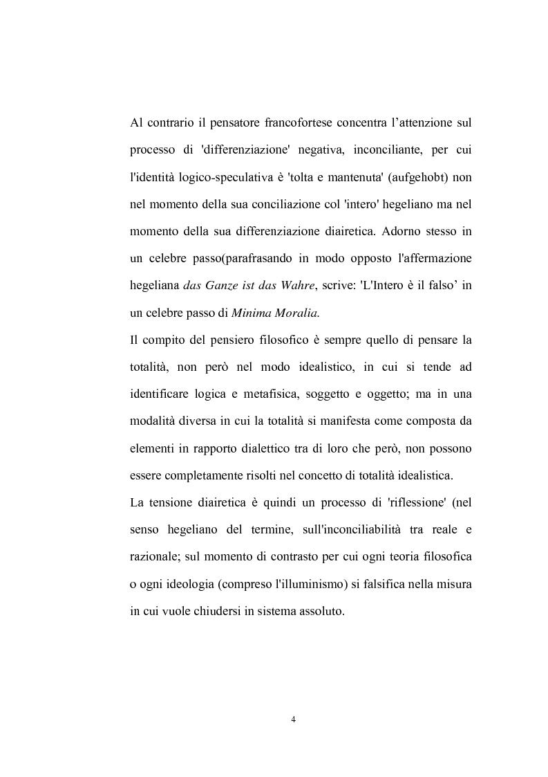 Anteprima della tesi: La natura problematica della dialettica negativa in T.W. Adorno, Pagina 4