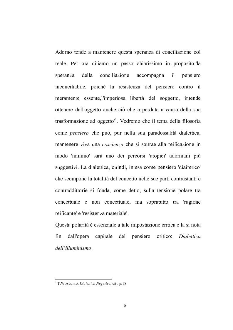 Anteprima della tesi: La natura problematica della dialettica negativa in T.W. Adorno, Pagina 6