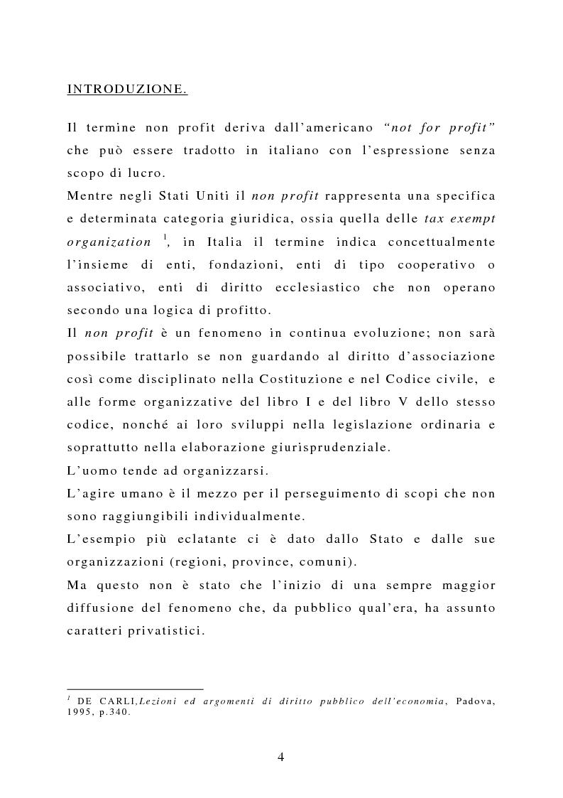 Anteprima della tesi: La capacità negoziale delle associazioni ''non profit'', Pagina 1