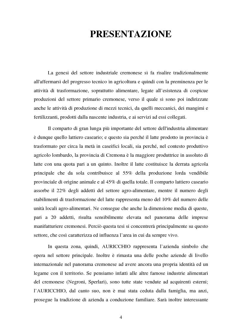 Anteprima della tesi: Le strategie competitive nel settore lattiero caseario. Il caso Auricchio, Pagina 1