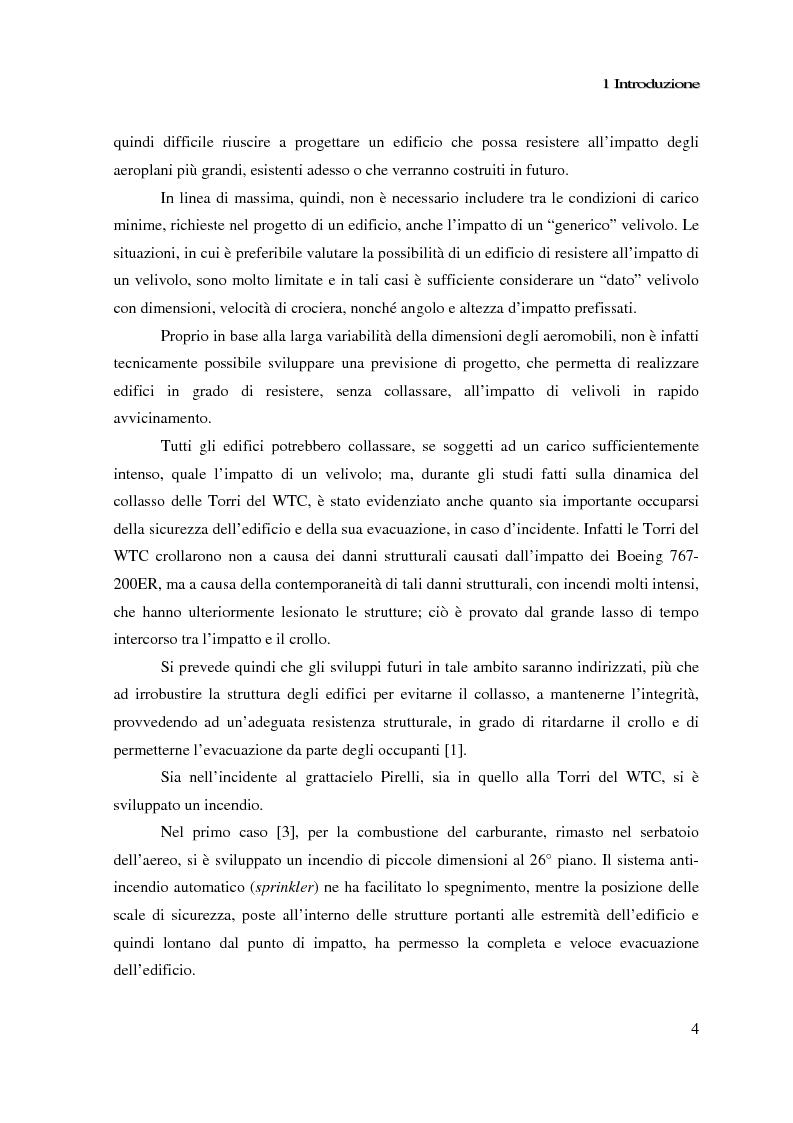 Anteprima della tesi: Impatto di un velivolo contro un grattacielo: considerazioni strutturali preliminari, Pagina 4