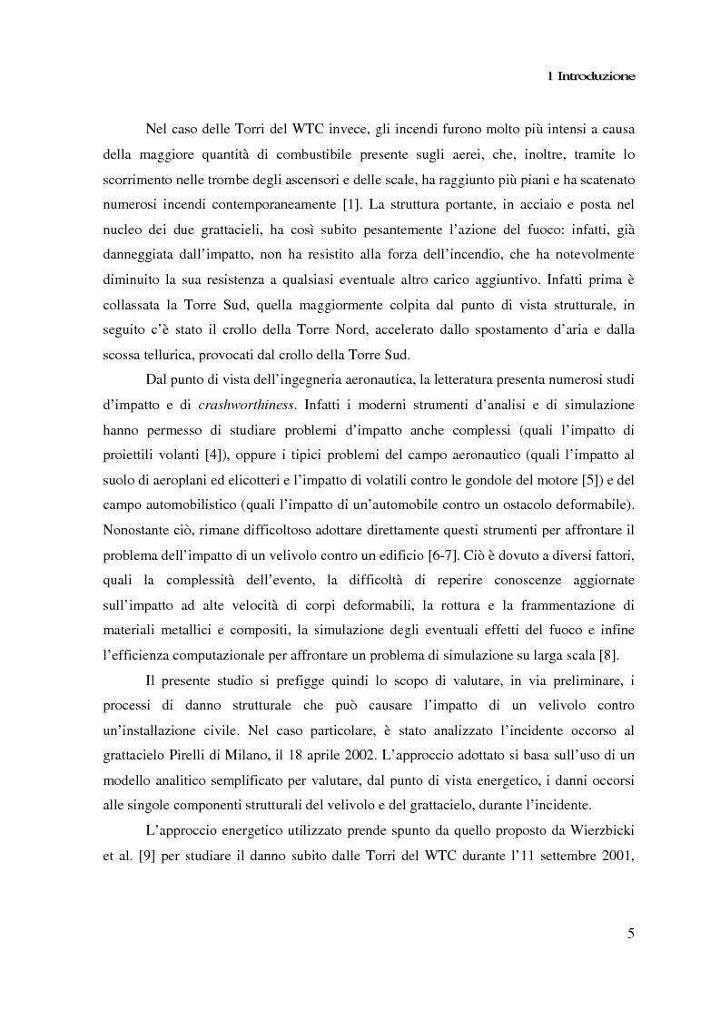 Anteprima della tesi: Impatto di un velivolo contro un grattacielo: considerazioni strutturali preliminari, Pagina 5