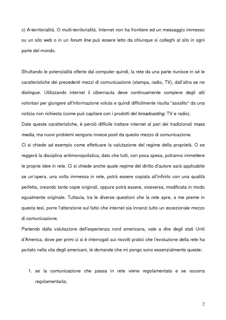 Anteprima della tesi: La libertà di manifestazione del pensiero in rete con particolare riferimento all'esperienza Nord Americana, Pagina 2