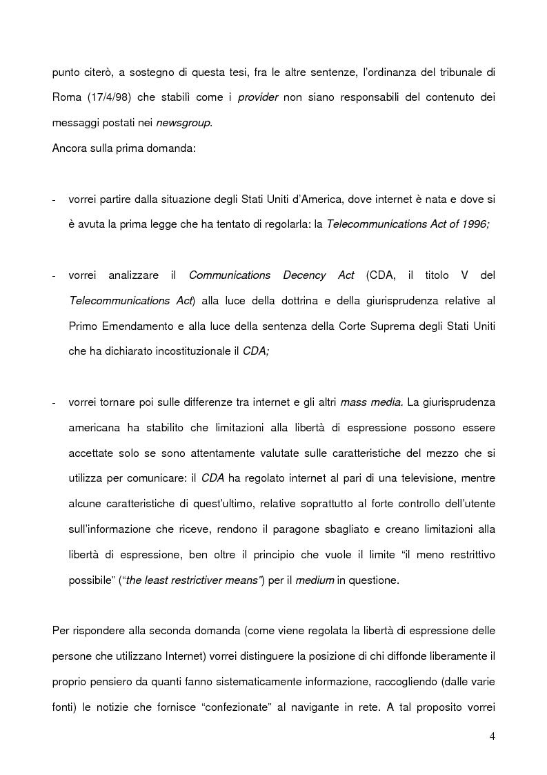 Anteprima della tesi: La libertà di manifestazione del pensiero in rete con particolare riferimento all'esperienza Nord Americana, Pagina 4
