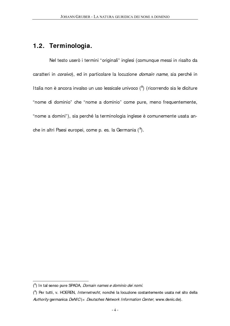 Anteprima della tesi: La natura giuridica dei ''nomi a dominio'', Pagina 5
