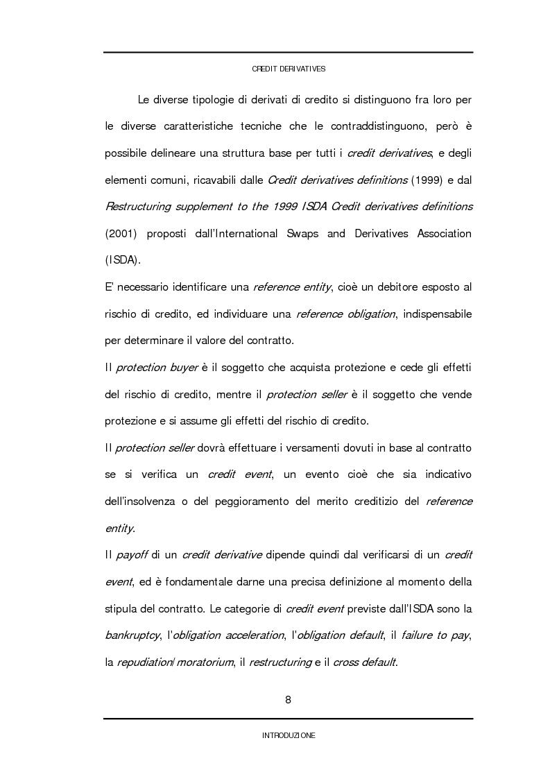 Anteprima della tesi: Credit derivatives: tipologie, finalità di utilizzo e modalità di pricing, Pagina 5
