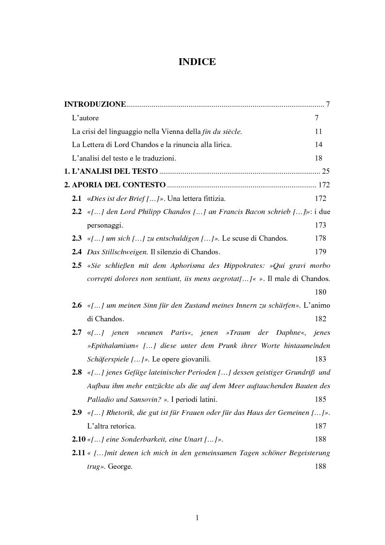Indice della tesi: Ein Brief di Hugo von Hofmannsthal e le sue traduzioni italiane, Pagina 1
