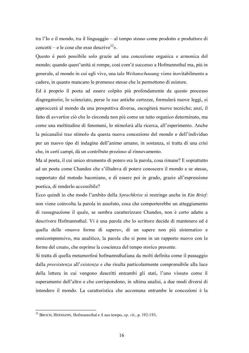 Anteprima della tesi: Ein Brief di Hugo von Hofmannsthal e le sue traduzioni italiane, Pagina 10