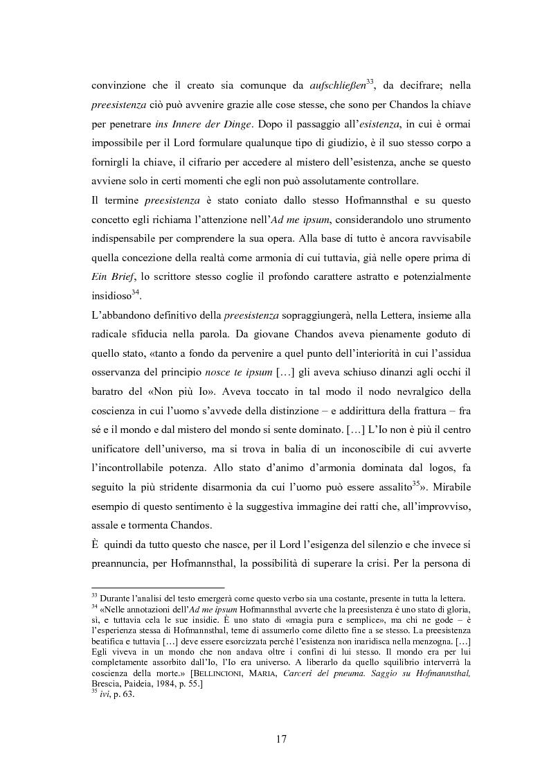 Anteprima della tesi: Ein Brief di Hugo von Hofmannsthal e le sue traduzioni italiane, Pagina 11