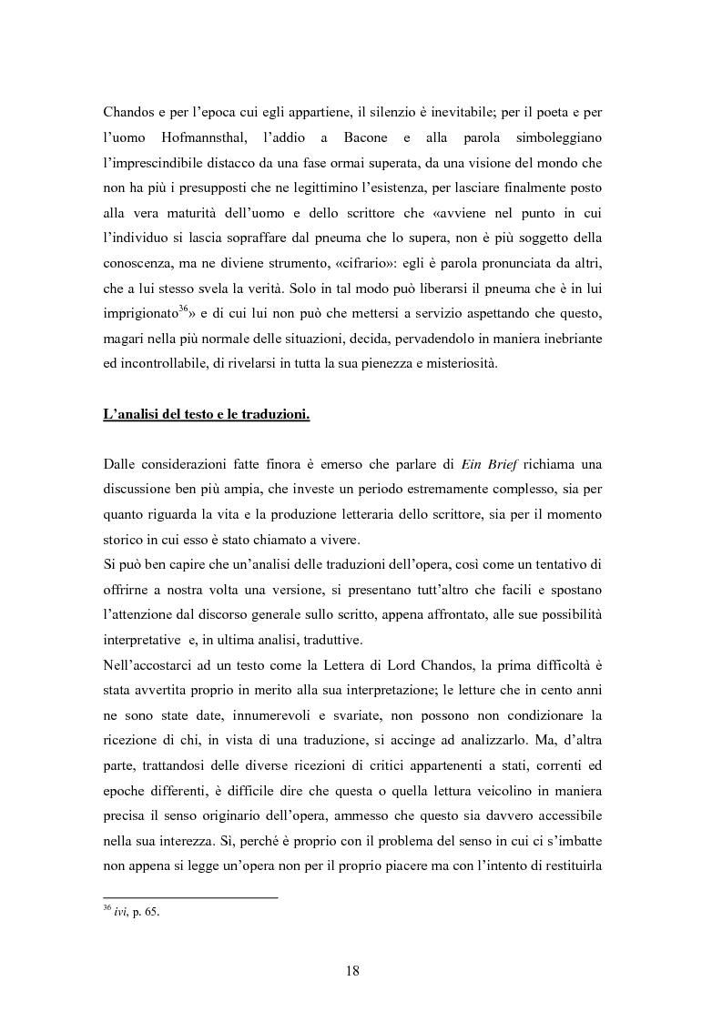 Anteprima della tesi: Ein Brief di Hugo von Hofmannsthal e le sue traduzioni italiane, Pagina 12