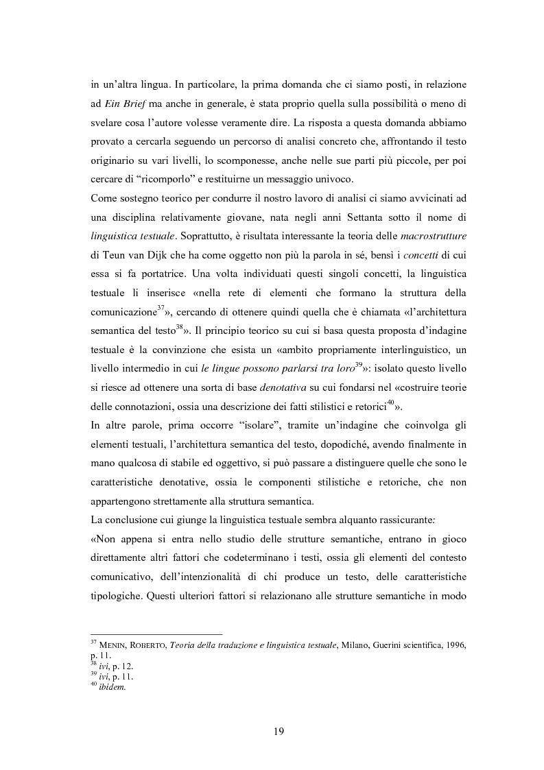 Anteprima della tesi: Ein Brief di Hugo von Hofmannsthal e le sue traduzioni italiane, Pagina 13