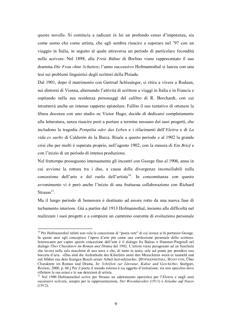 Anteprima della tesi: Ein Brief di Hugo von Hofmannsthal e le sue traduzioni italiane, Pagina 3