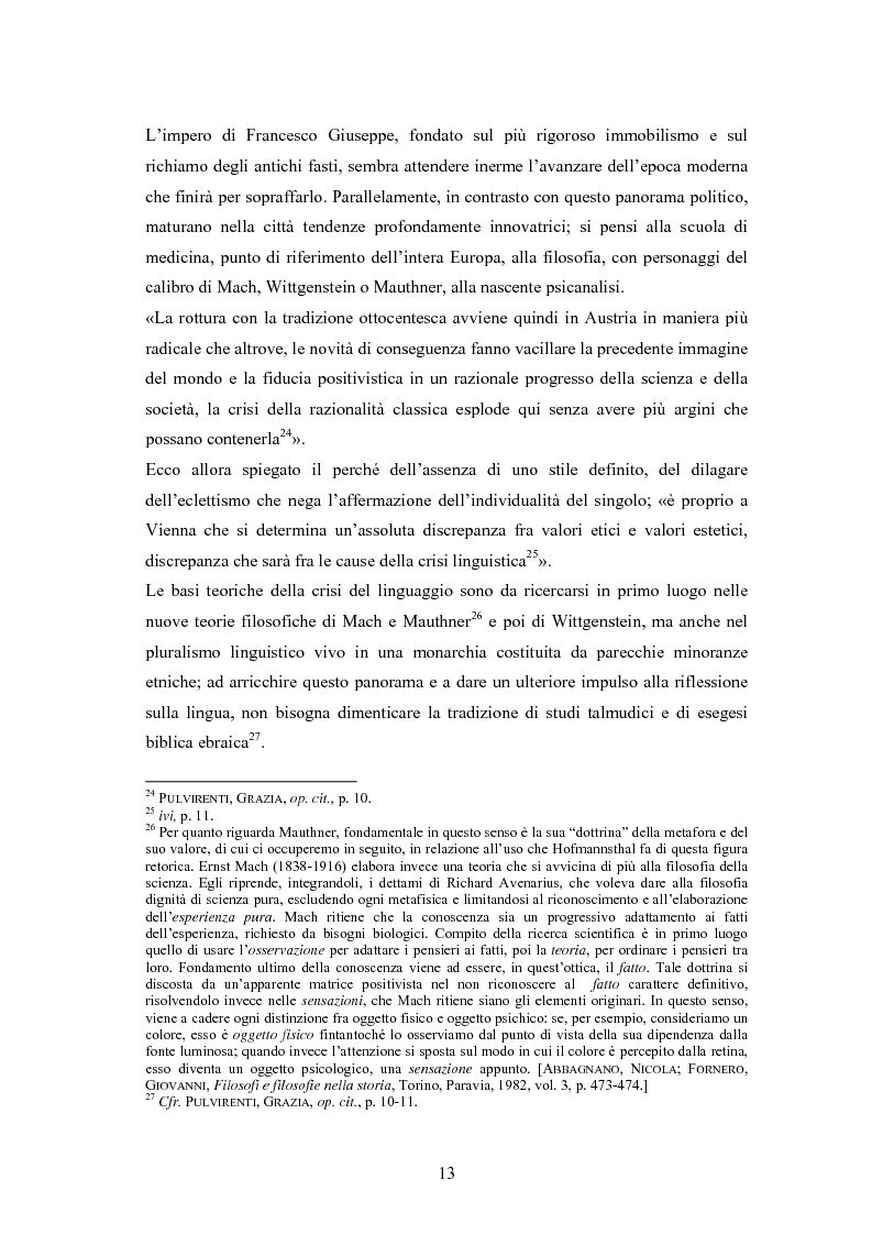 Anteprima della tesi: Ein Brief di Hugo von Hofmannsthal e le sue traduzioni italiane, Pagina 7