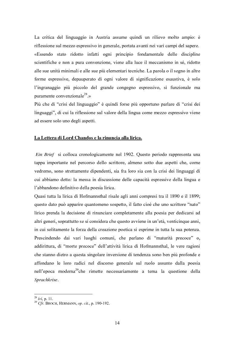 Anteprima della tesi: Ein Brief di Hugo von Hofmannsthal e le sue traduzioni italiane, Pagina 8