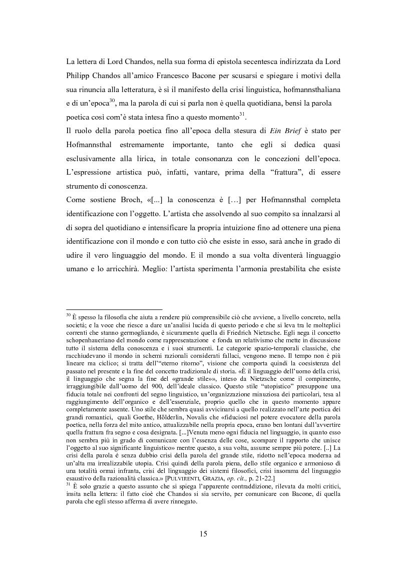 Anteprima della tesi: Ein Brief di Hugo von Hofmannsthal e le sue traduzioni italiane, Pagina 9
