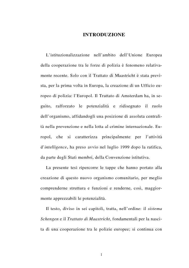 Anteprima della tesi: La cooperazione tra i servizi di polizia degli stati membri dell'Unione europea, Pagina 1