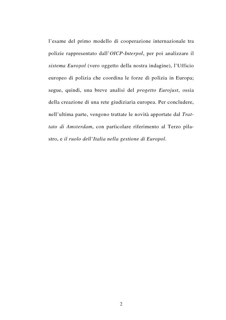 Anteprima della tesi: La cooperazione tra i servizi di polizia degli stati membri dell'Unione europea, Pagina 2