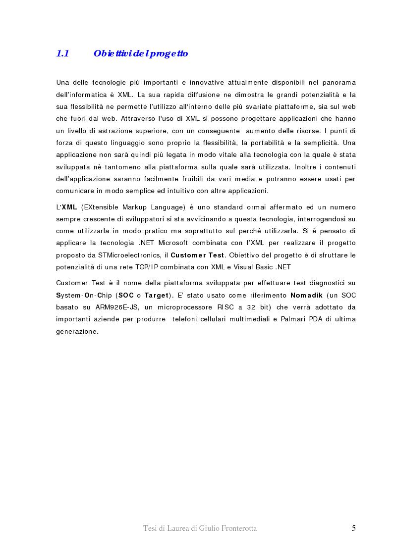 Anteprima della tesi: Realizzazione di piattaforma di test per system-on-chip - Utilizzo di Xml e tecnologia .Net per il controllo di dispositivi hardware, Pagina 1