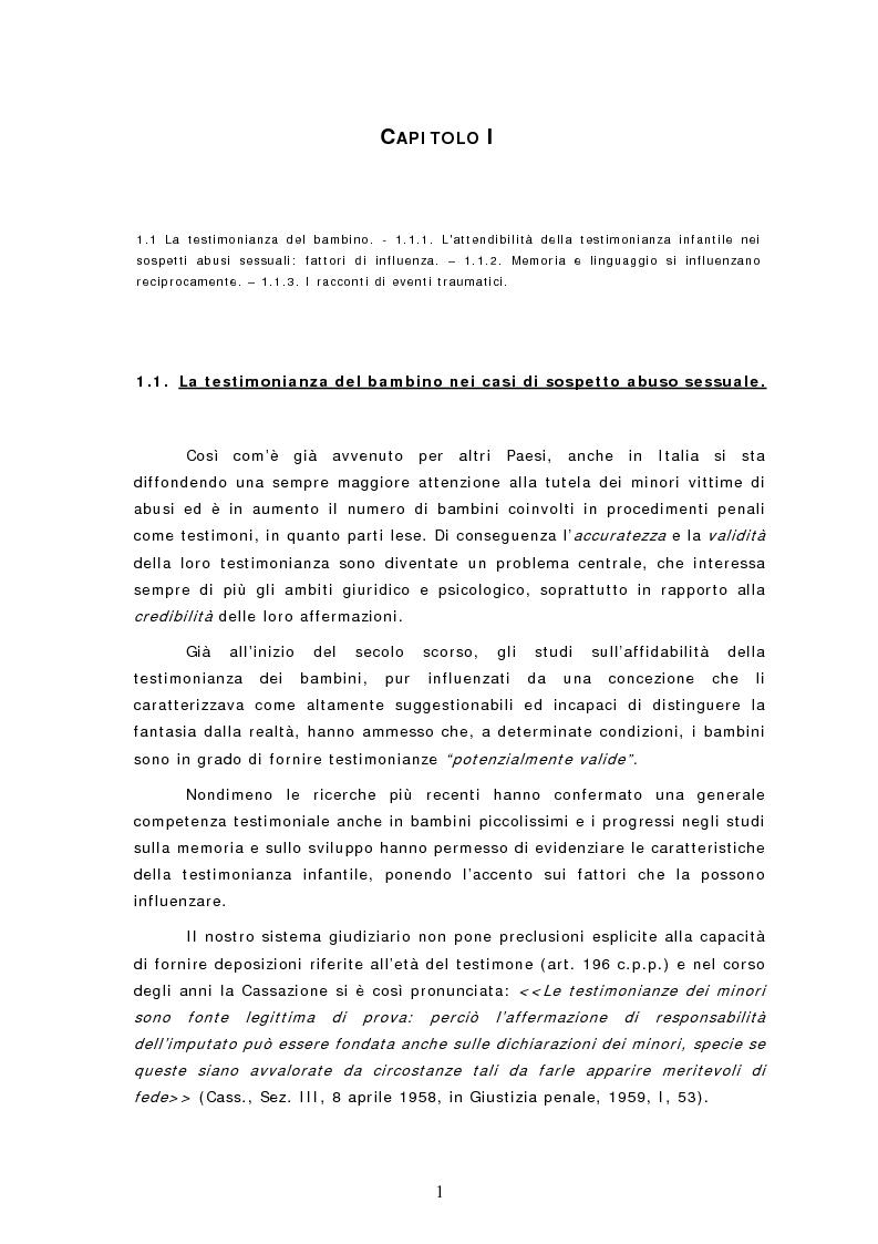 Anteprima della tesi: Le dichiarazioni dei bambini nei casi di sospetto abuso sessuale. Raccolta e valutazione, Pagina 1