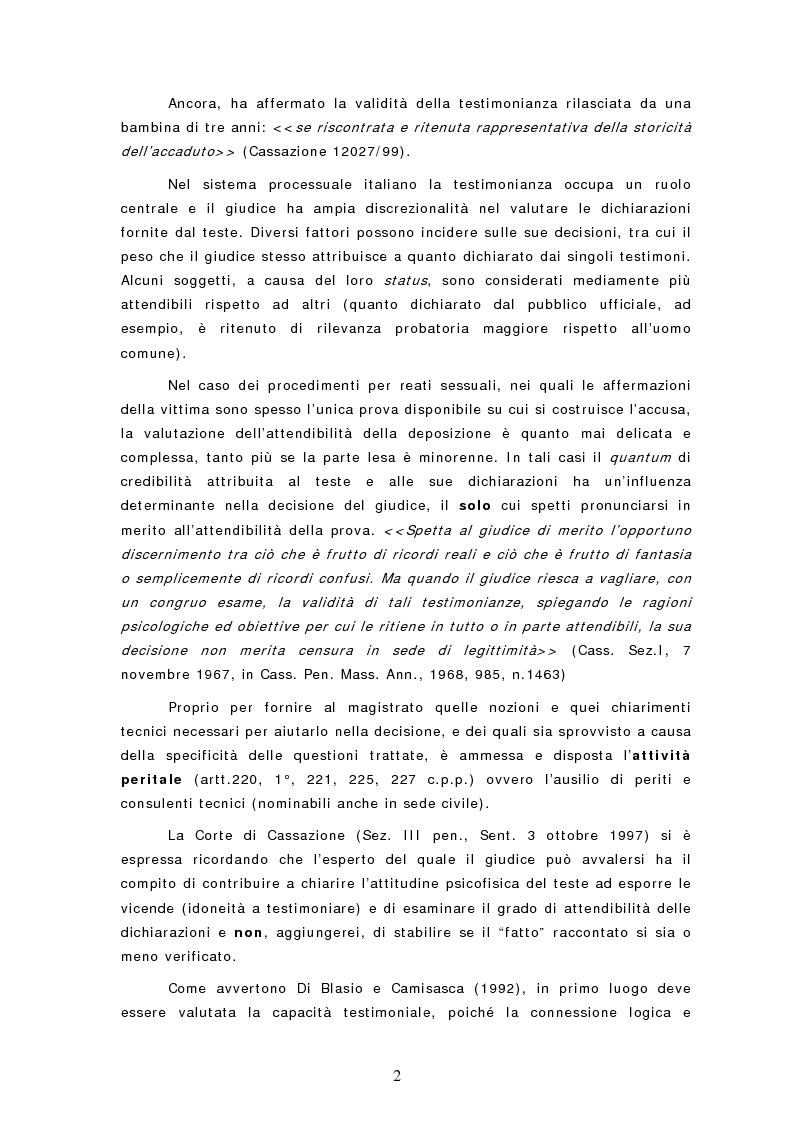Anteprima della tesi: Le dichiarazioni dei bambini nei casi di sospetto abuso sessuale. Raccolta e valutazione, Pagina 2