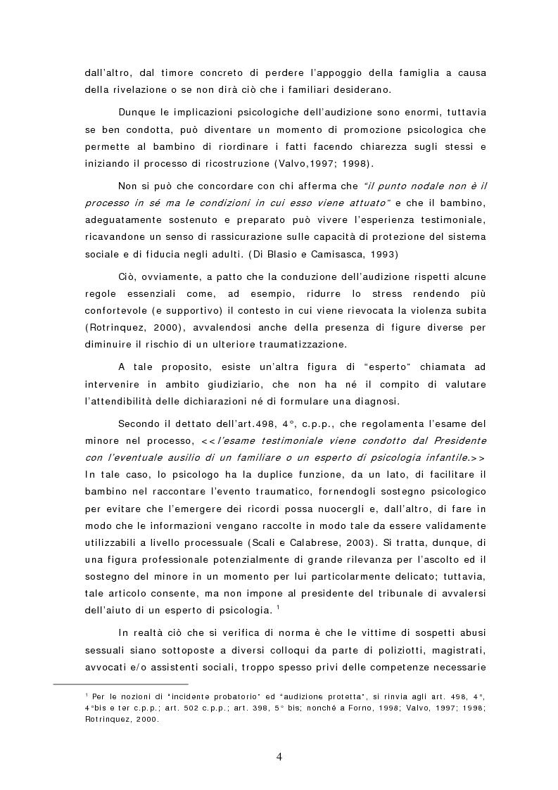 Anteprima della tesi: Le dichiarazioni dei bambini nei casi di sospetto abuso sessuale. Raccolta e valutazione, Pagina 4