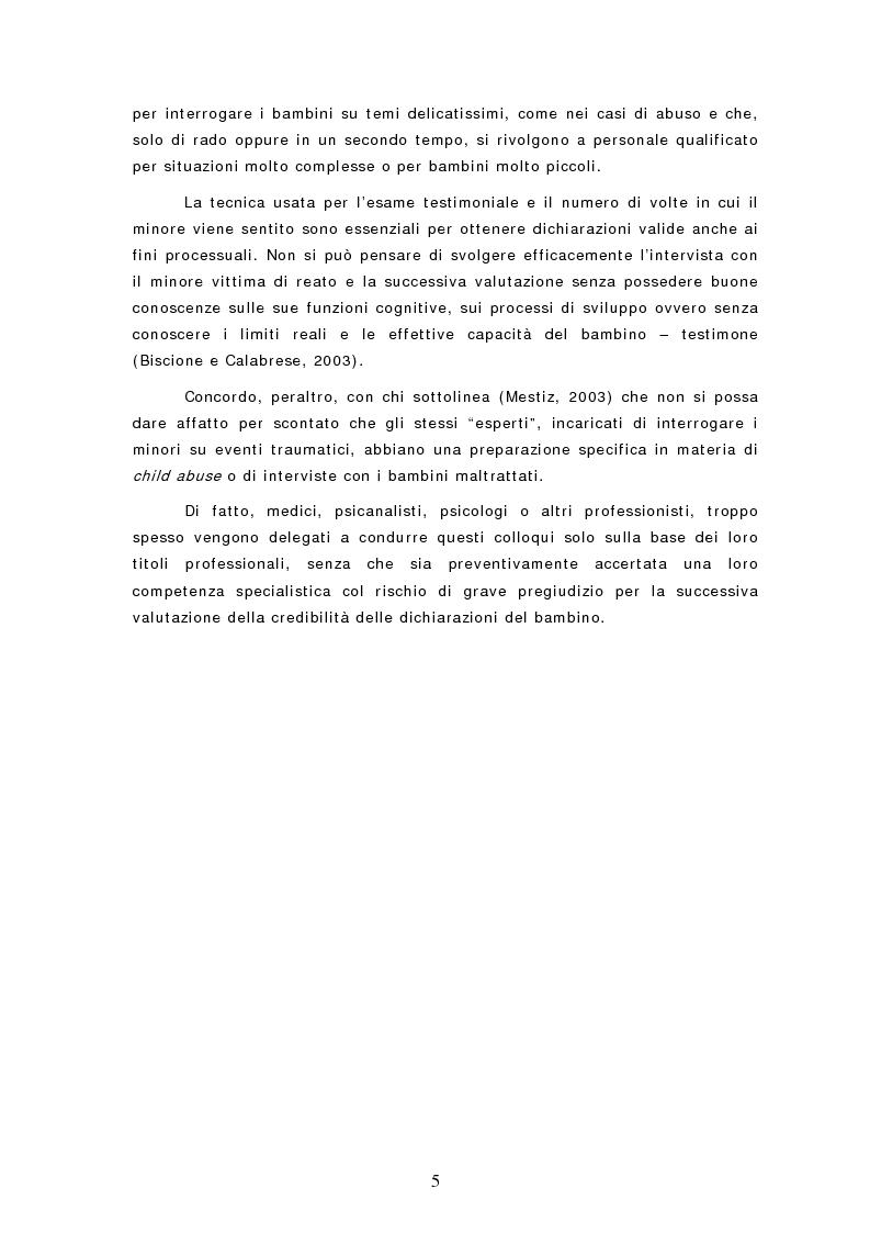 Anteprima della tesi: Le dichiarazioni dei bambini nei casi di sospetto abuso sessuale. Raccolta e valutazione, Pagina 5