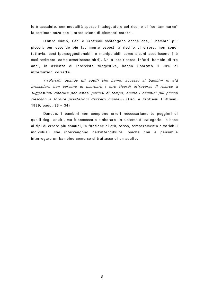 Anteprima della tesi: Le dichiarazioni dei bambini nei casi di sospetto abuso sessuale. Raccolta e valutazione, Pagina 8