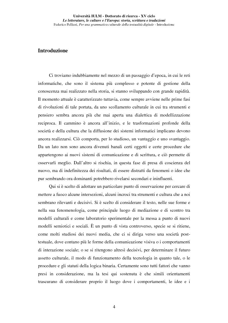 Anteprima della tesi: Neotecnologie e contemporaneità. Per una grammatica della testualità digitale, Pagina 1