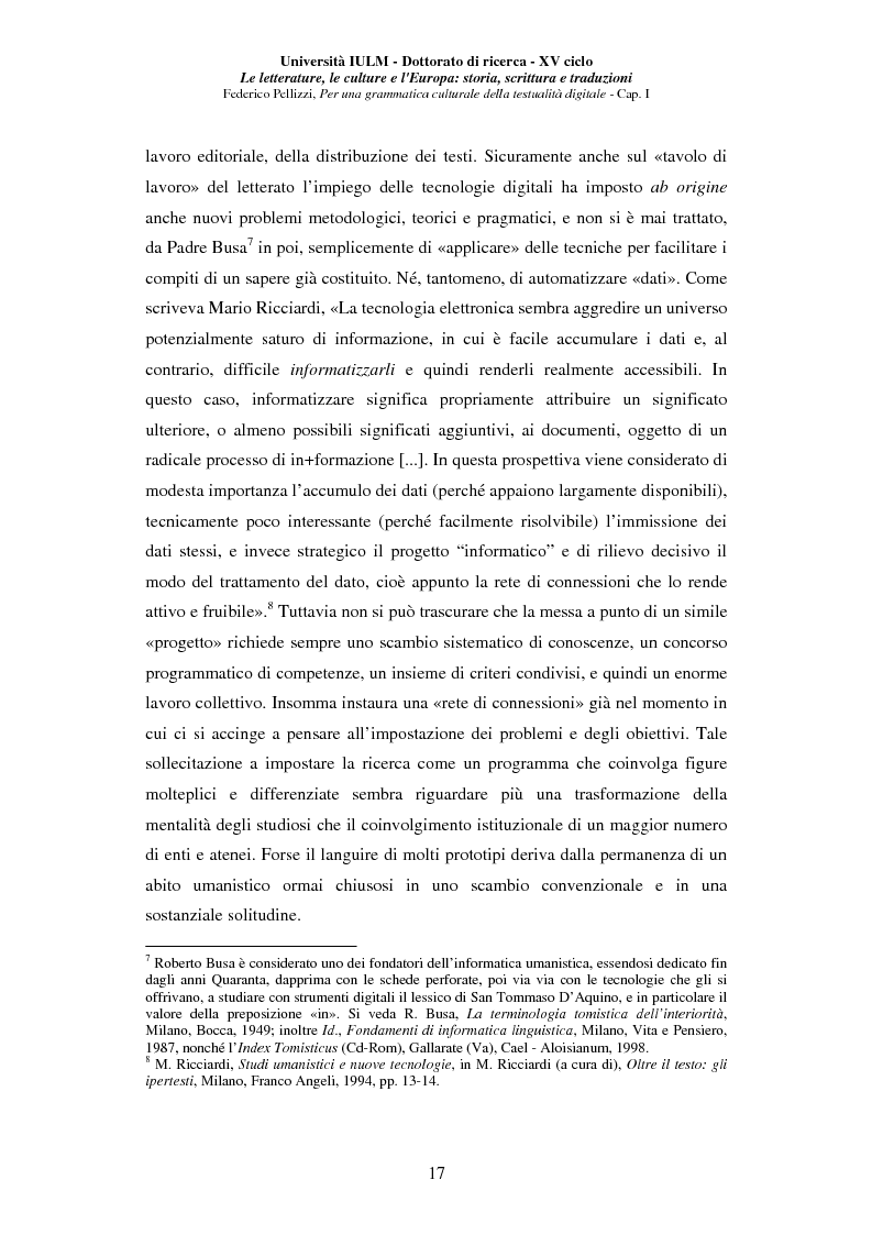 Anteprima della tesi: Neotecnologie e contemporaneità. Per una grammatica della testualità digitale, Pagina 14