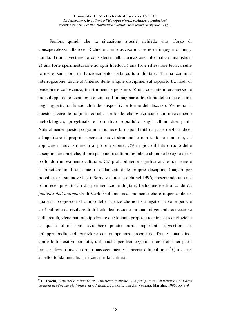 Anteprima della tesi: Neotecnologie e contemporaneità. Per una grammatica della testualità digitale, Pagina 15