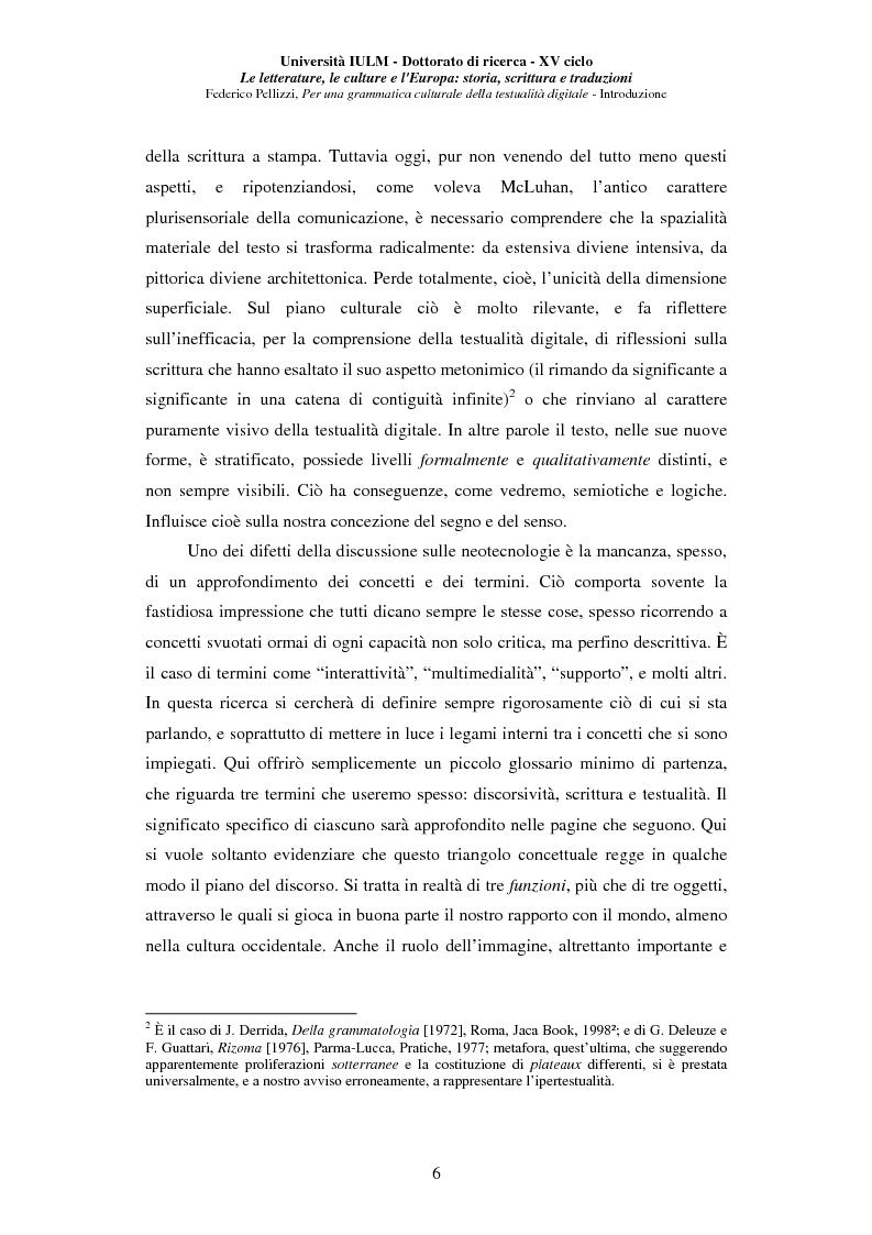 Anteprima della tesi: Neotecnologie e contemporaneità. Per una grammatica della testualità digitale, Pagina 3