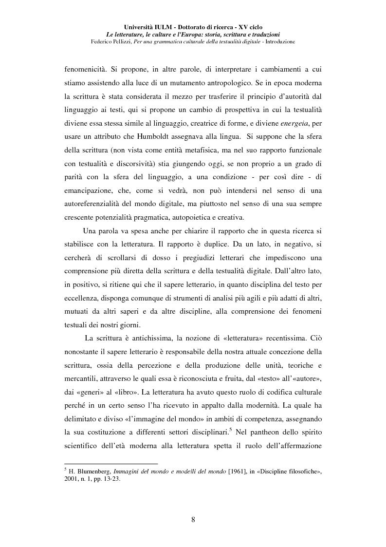 Anteprima della tesi: Neotecnologie e contemporaneità. Per una grammatica della testualità digitale, Pagina 5