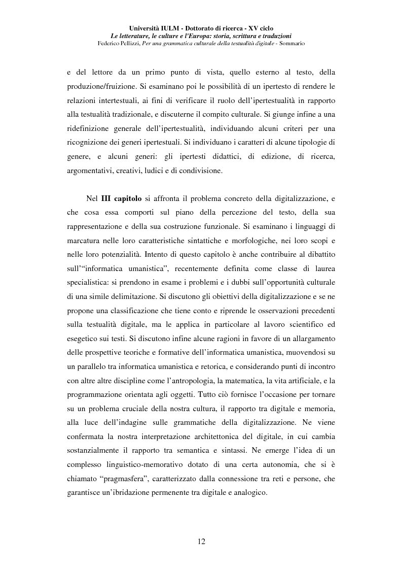 Anteprima della tesi: Neotecnologie e contemporaneità. Per una grammatica della testualità digitale, Pagina 9